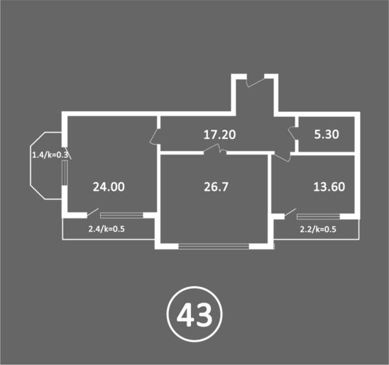 Альт-Платц II Трёхкомнатная квартира