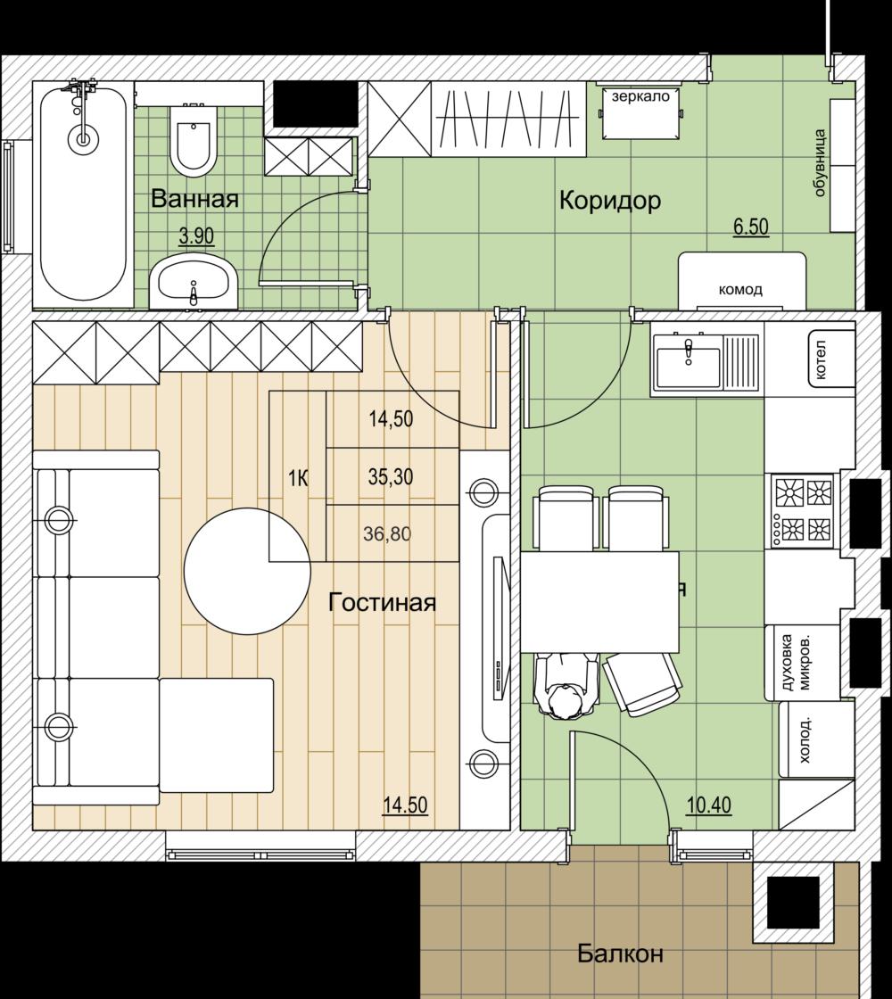 Планировки Грюнштадт 3 однокомнатная