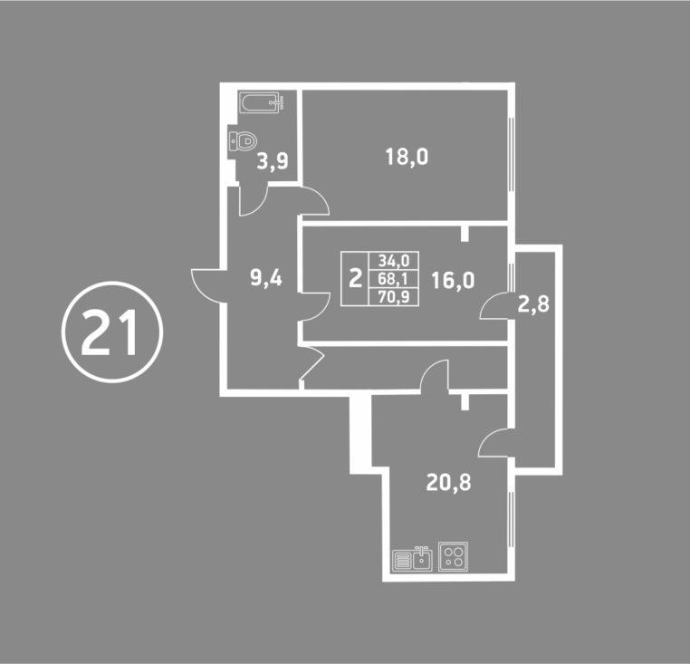 2 комнатная пушкина 5