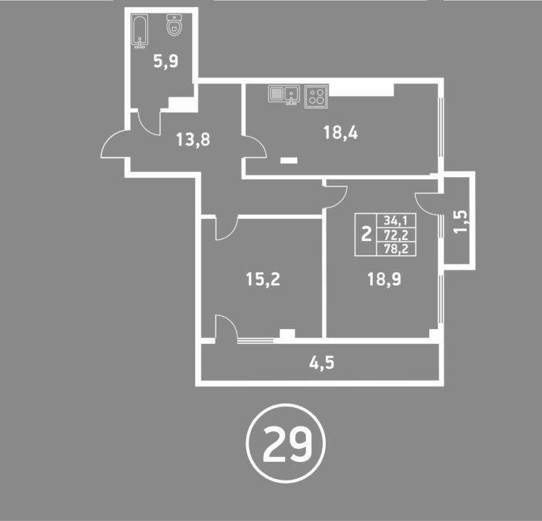 2 комнатная пушкина 6