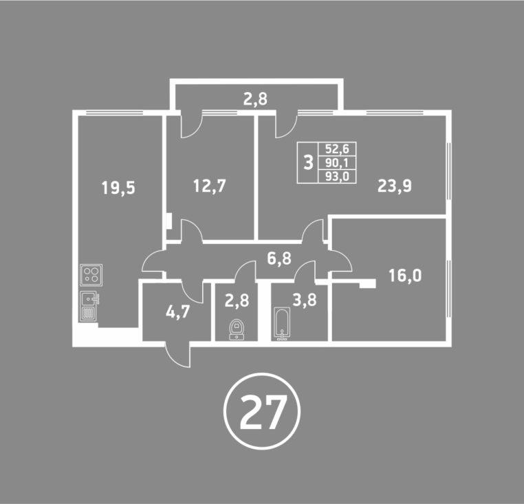 3 комнатная пушкина